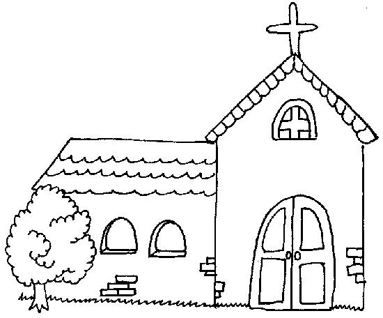 coloring page of a church - church building
