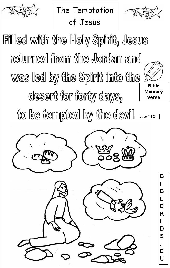 temptation of jesus coloring pages for kids | THE TEMPTATION OF JESUS-BIBLEKIDS