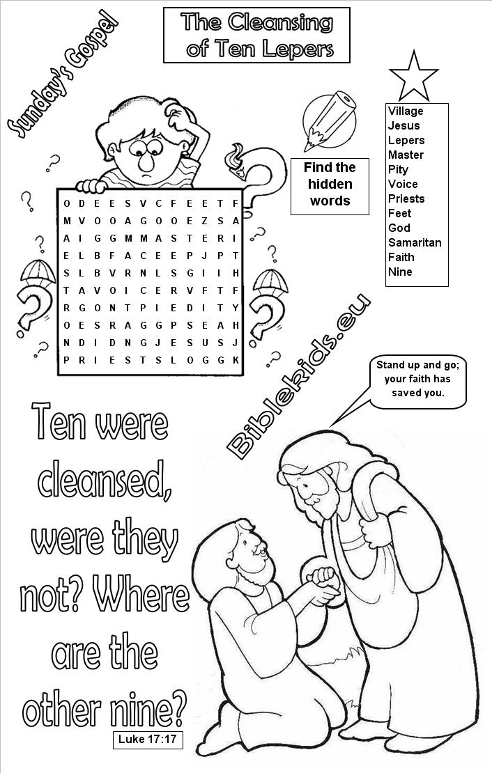 Cleansing Of Ten Lepers Word Search Puzzle Cleansing Of