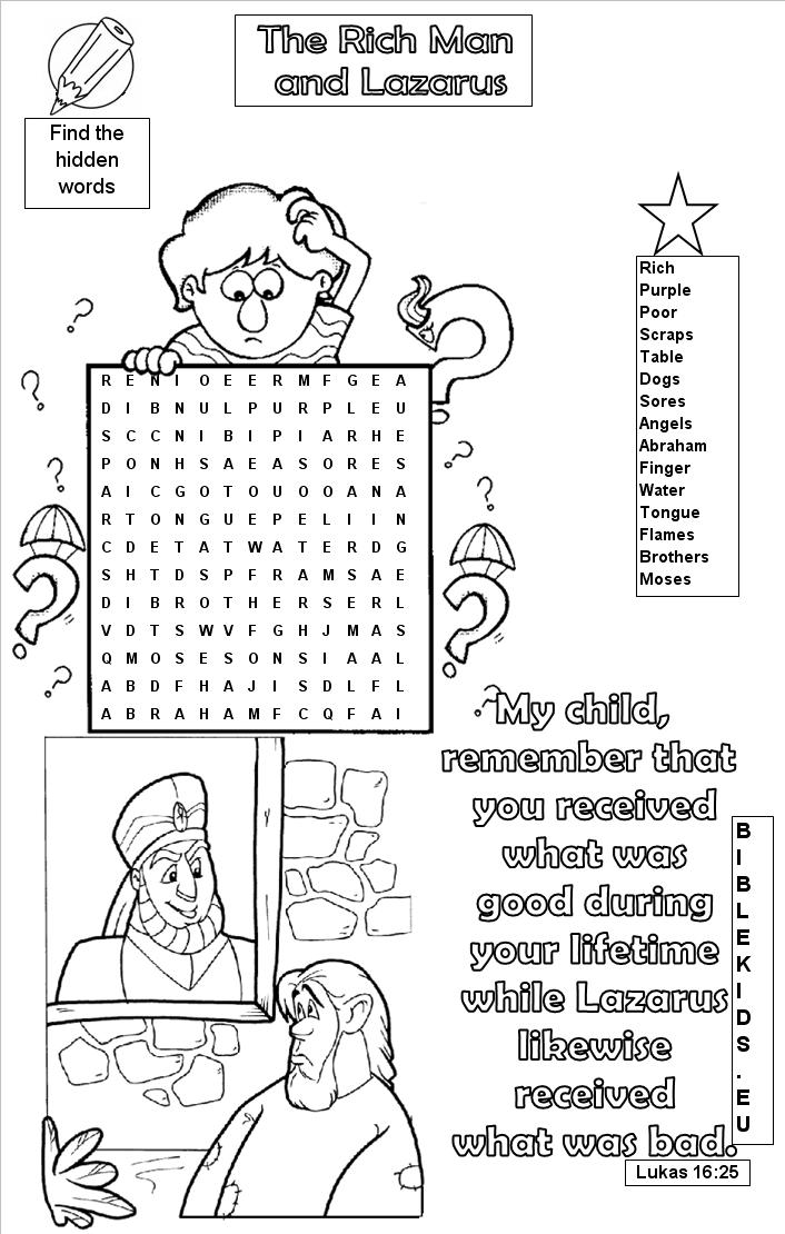 Free, Printable Bible Word Search Activities on Sunday ...
