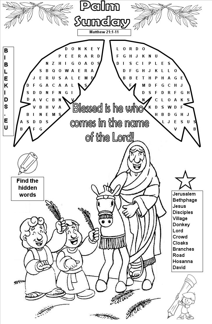 Palm sunday coloring pages christian