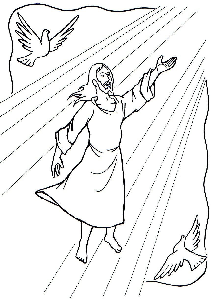 The Ascension Of Jesus Picture Into Coloring Page