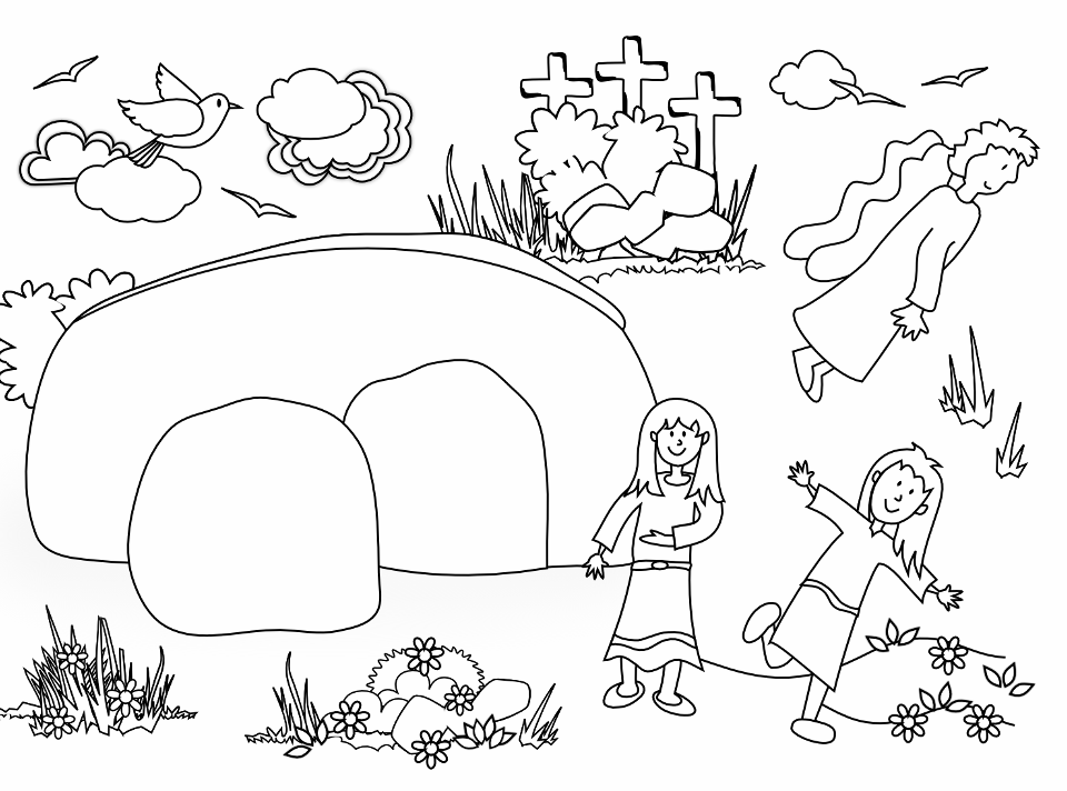 Jesus tomb coloring pages for Jesus empty tomb coloring pages