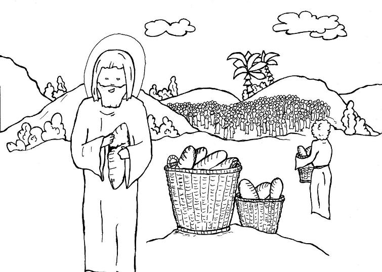 Jesus feeds 5000 coloring page coloring pages for Feeding the five thousand coloring pages