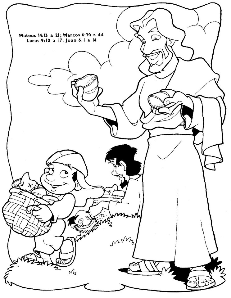 Colouring Pages Jesus Feeds 5000 : Jesus feeds the coloring pages