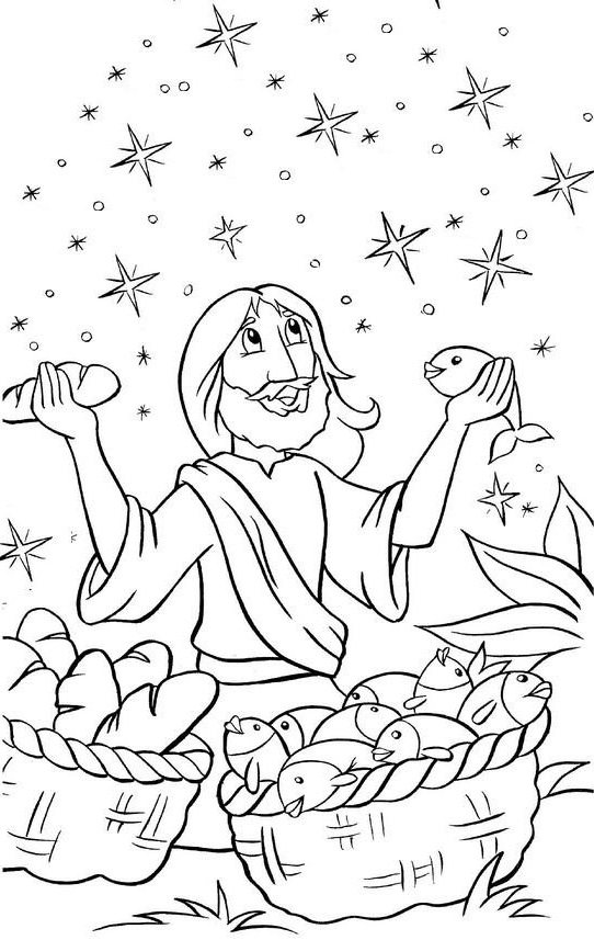 Coloring Pages For Jesus Feeding The 5000 : Jesus feeds coloring pages