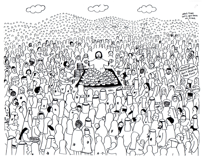 Coloring Pages For Jesus Feeding The 5000 : Feeding the multitude jesus feeds