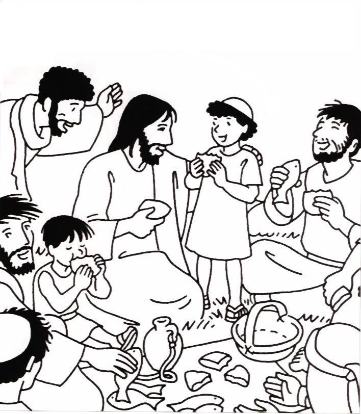 Jesus feeds 5000 for Feeding the five thousand coloring pages