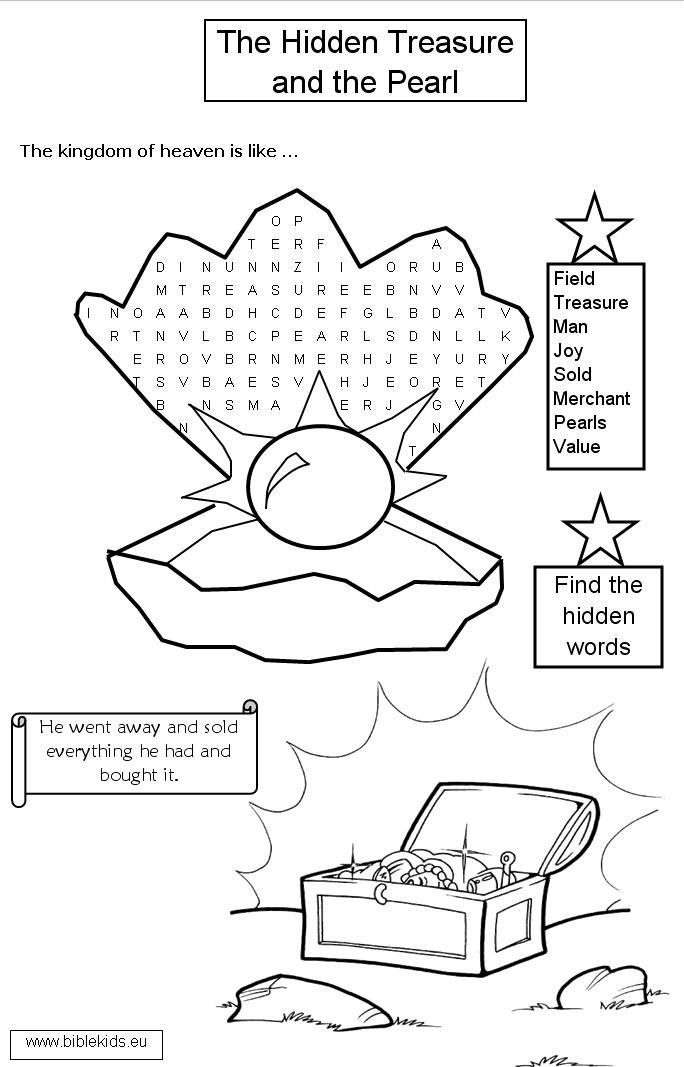 Worksheets For The Pearl : Parables of the pearl and hidden treasure coloring pages