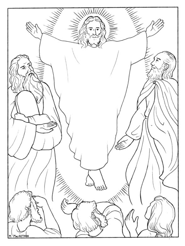Transfiguration of Jesus coloring