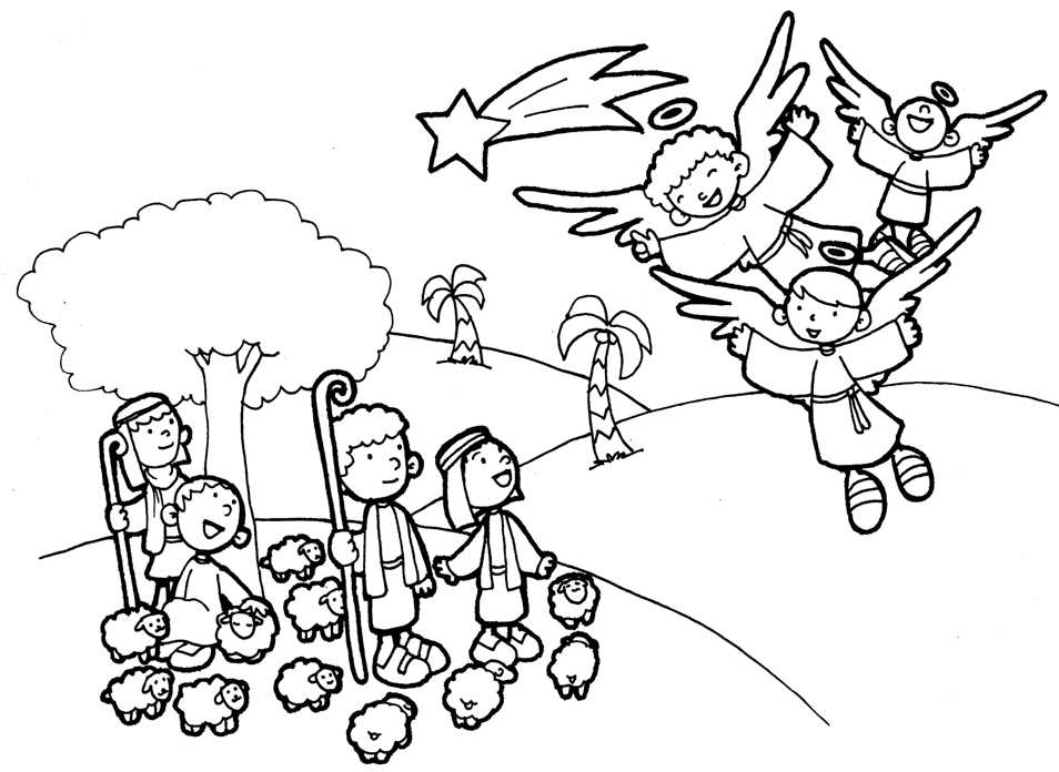 angels and shepherds coloring sheets coloring pages