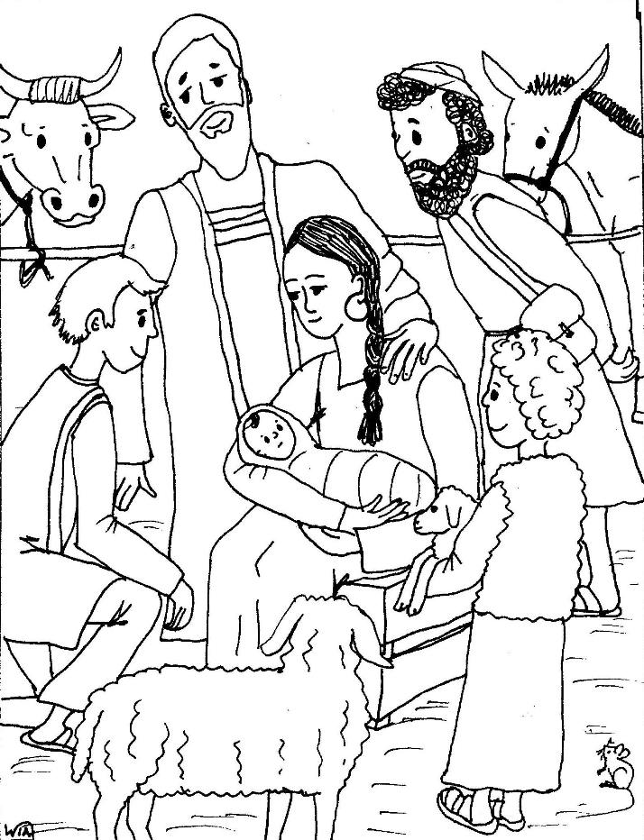 Free Jesus Birth Coloring Pages Birth Of Jesus Coloring Page