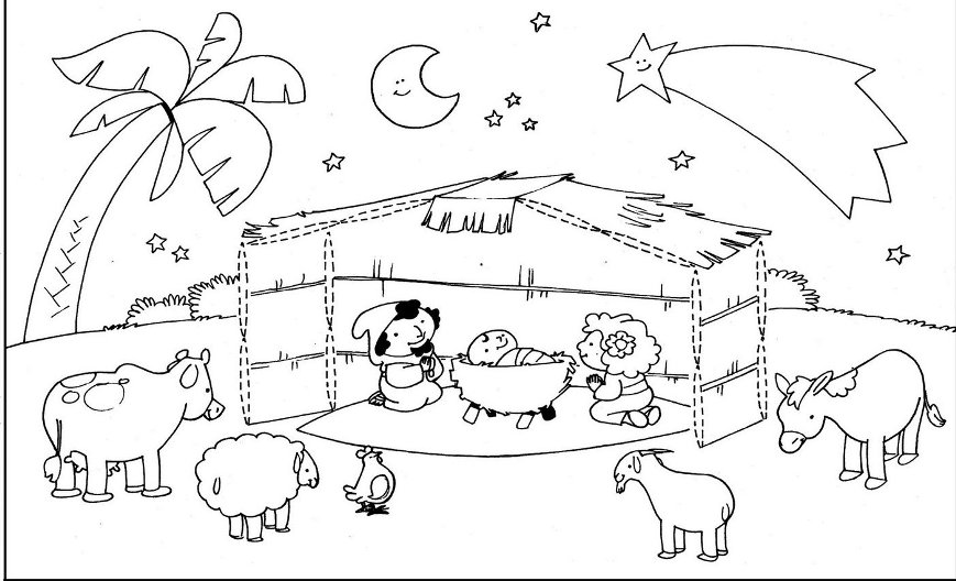 Free Coloring Pages Of Birth Of Jesus