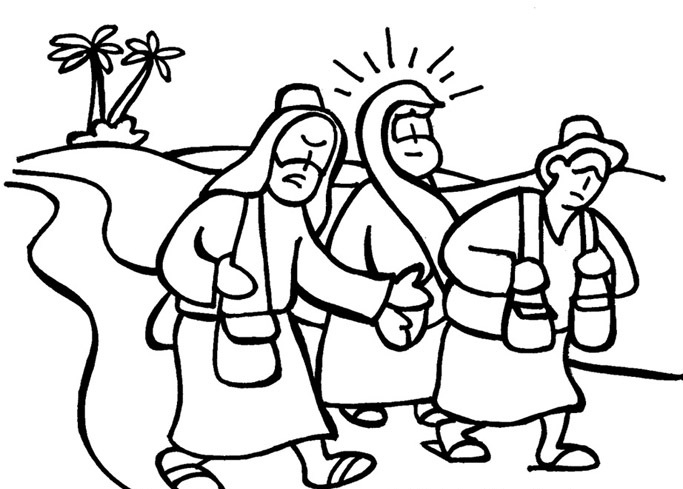 Disciples Coloring Page Walks Water: The Disciples Of Emmaus