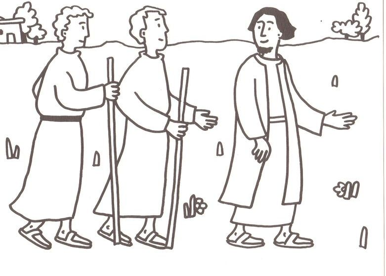 Disciples Coloring Page Walks Water: Road To Emmaus Coloring Page Sketch Coloring Page