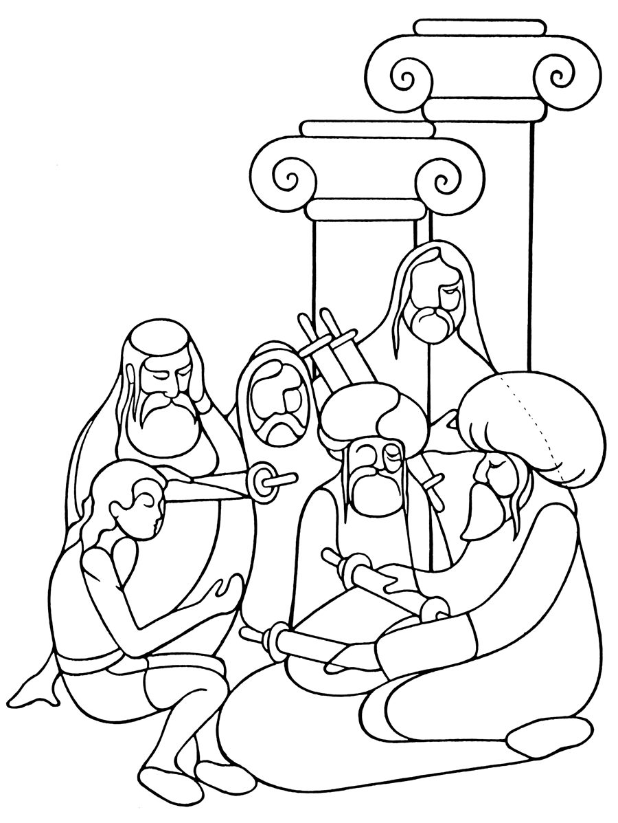 Free coloring pages jesus in the temple