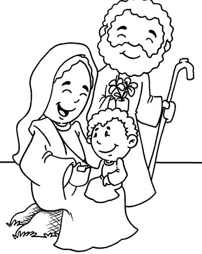 Catholic Holy Family Coloring Page Sketch Coloring Page