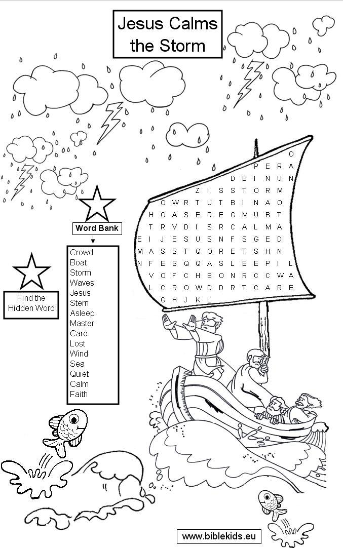 Jesus Calming The Sea Coloring Pages