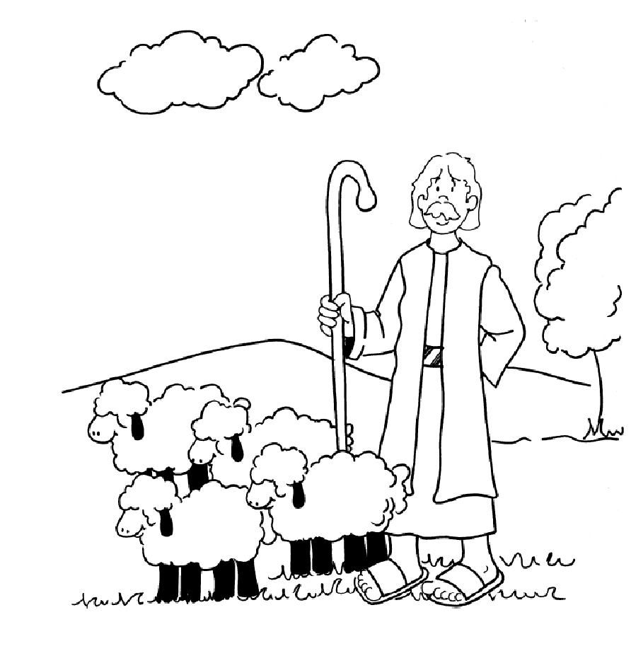 Shepherd And Sheep Coloring Page Coloring Pages