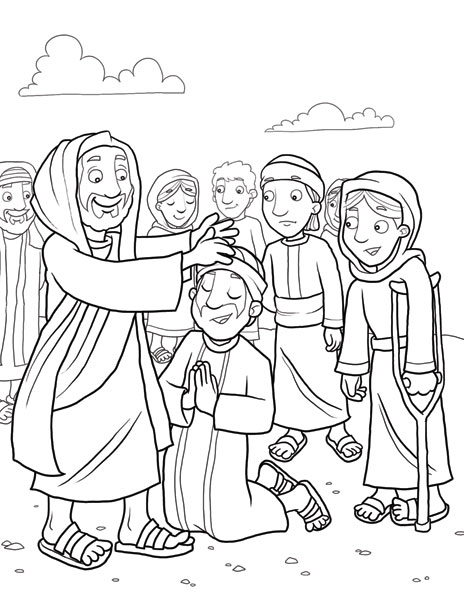 Evidently jesus heals blind man coloring sheet foundation