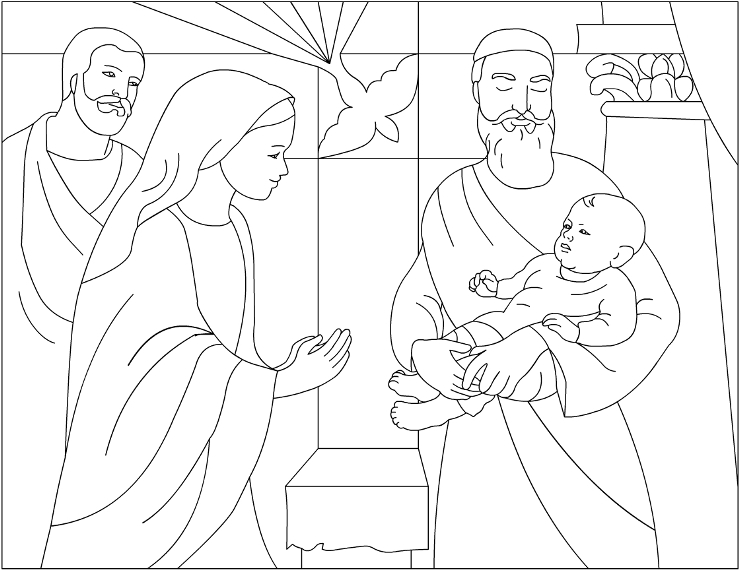 Presentation of jesus in the temple for Jesus as a boy in the temple coloring page