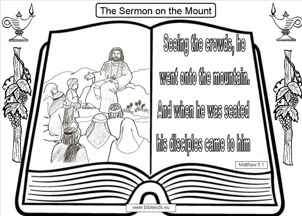 Mount of beatitudes colouring pages page 3