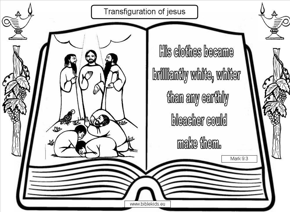 Transfiguration of Jesus coloring pages   Transfiguration of Jesus
