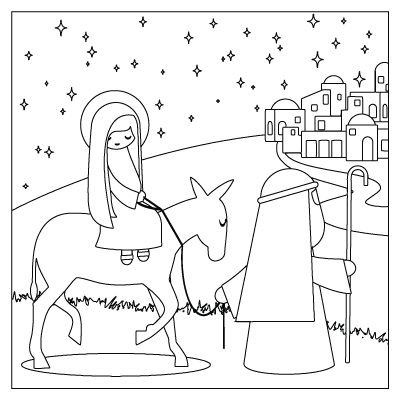 Mary and joseph travel to bethlehem travel to bethlehem for Printable advent coloring pages