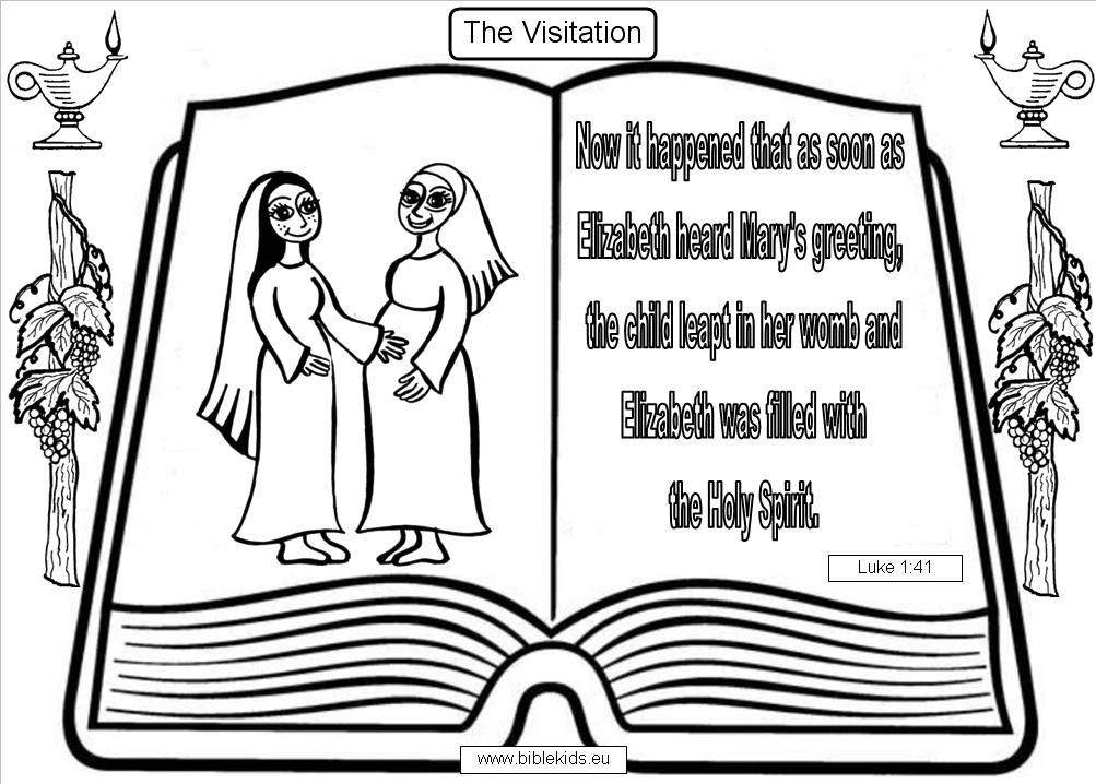 Free mary visits elizabeth coloring pages for Mary visits elizabeth coloring page