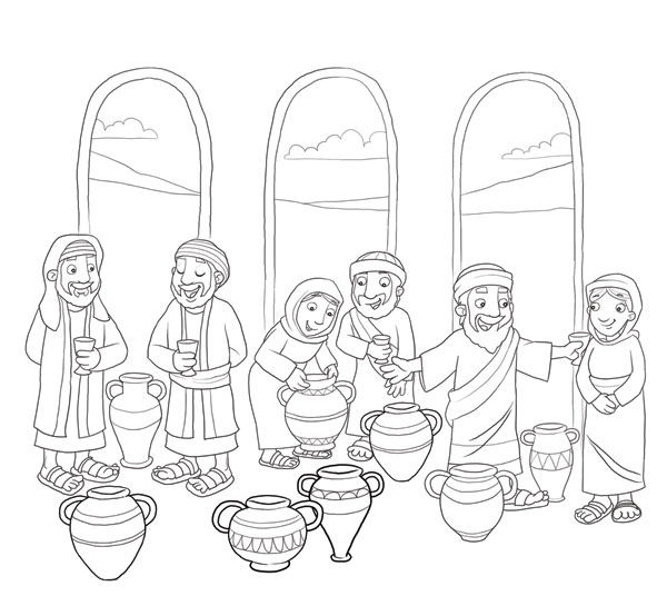 Marriage at Cana coloring page | Wedding at Cana