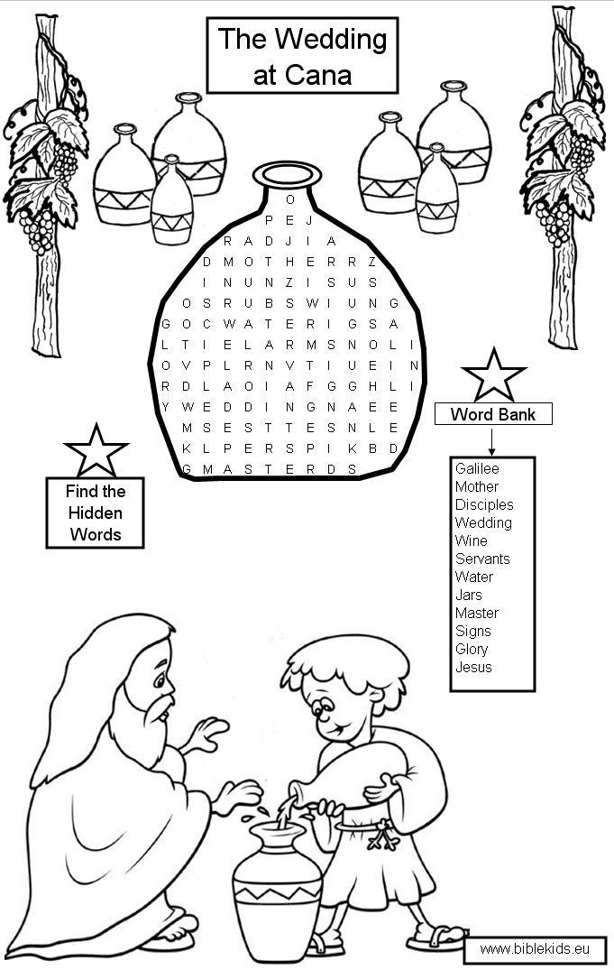 The First Miracle Of Jesus Coloring Pages