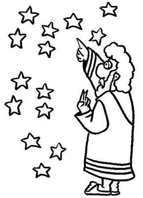 Abraham Telt De Sterren Kleurplaat Abraham Abraham Drawings