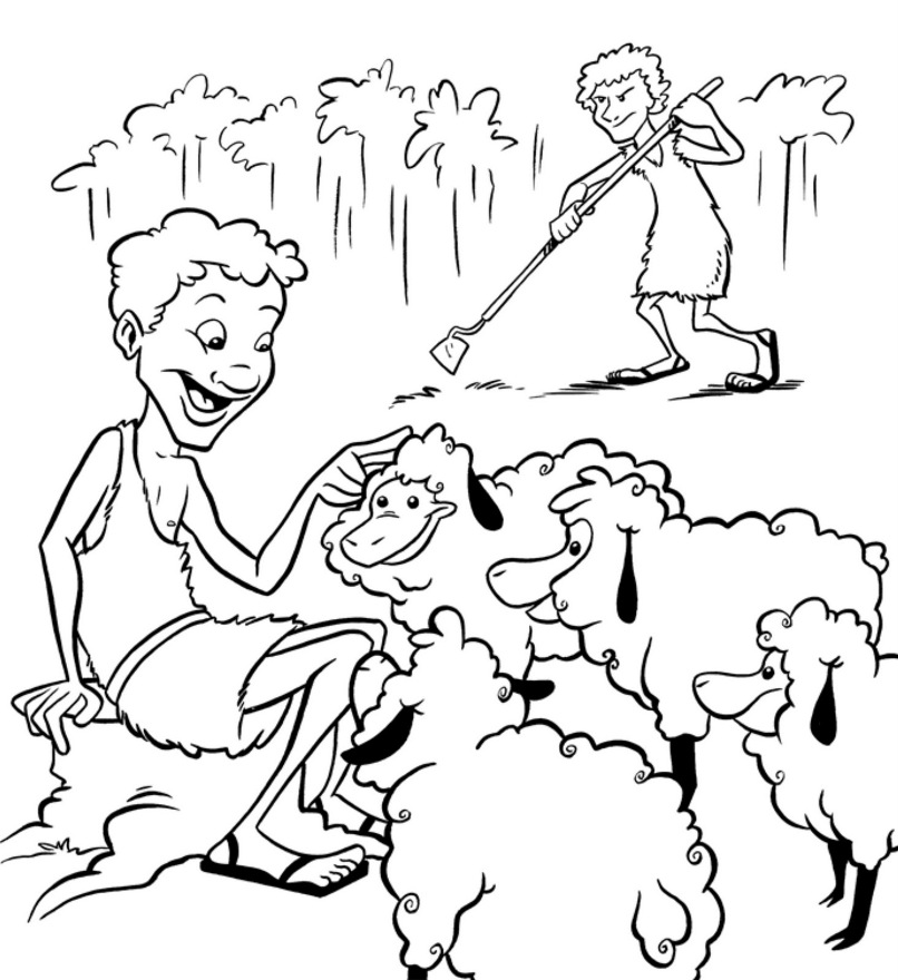 adam eve cain and abel coloring pages