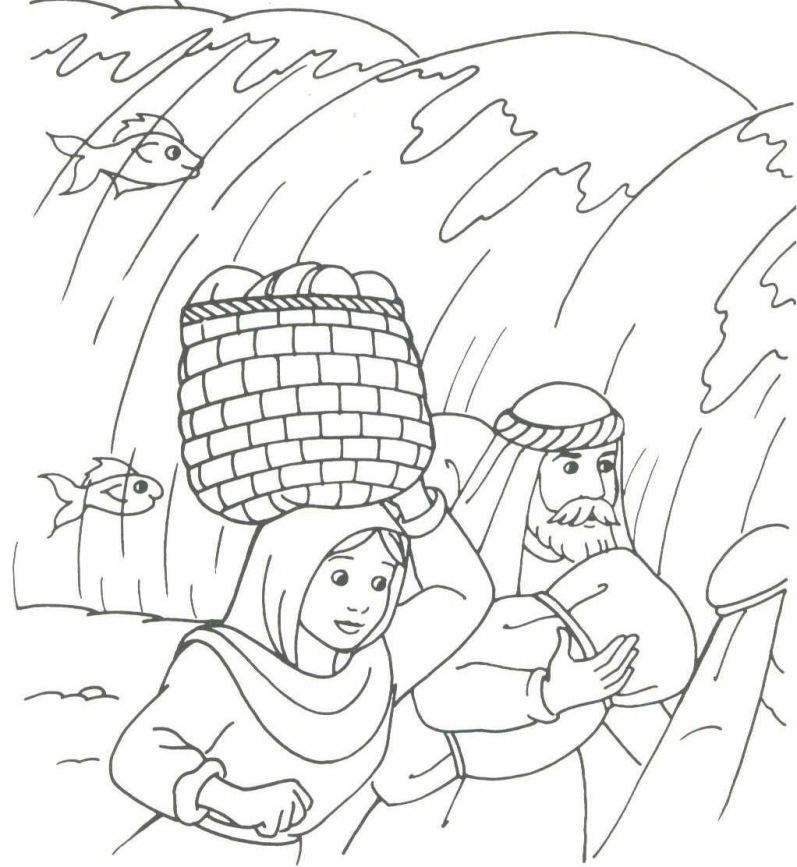 Red Sea Coloring Pages From Old Testament Pictures To Pin