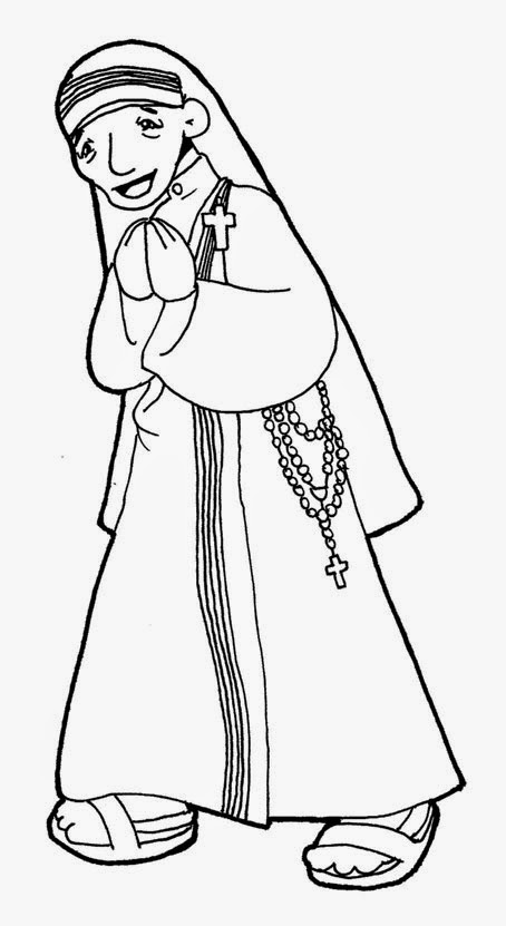Saints coloring pages printable catholic saints for Mother teresa coloring page