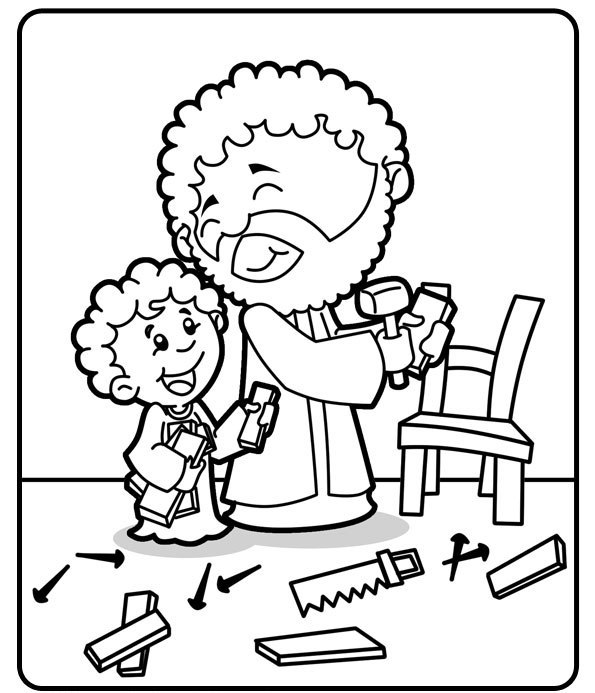 Saints coloring pages printable catholic saints for St joseph coloring page